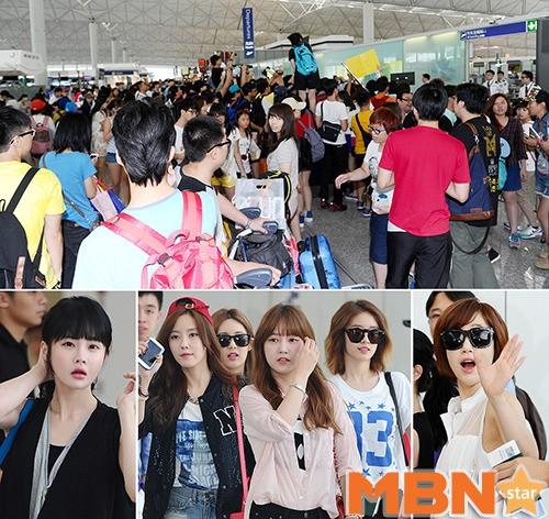 T-ARAが香港国際空港から韓国へ向けて出発「現地ファンが殺到」